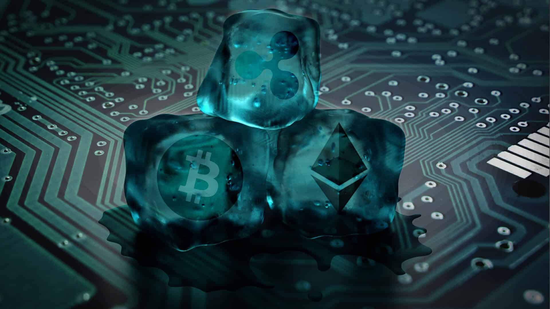 Cold Storage dargestellt als Eiswürfel mit Symbolen für die Kryptowährungen Bitcoin, Ethereum und Ripple