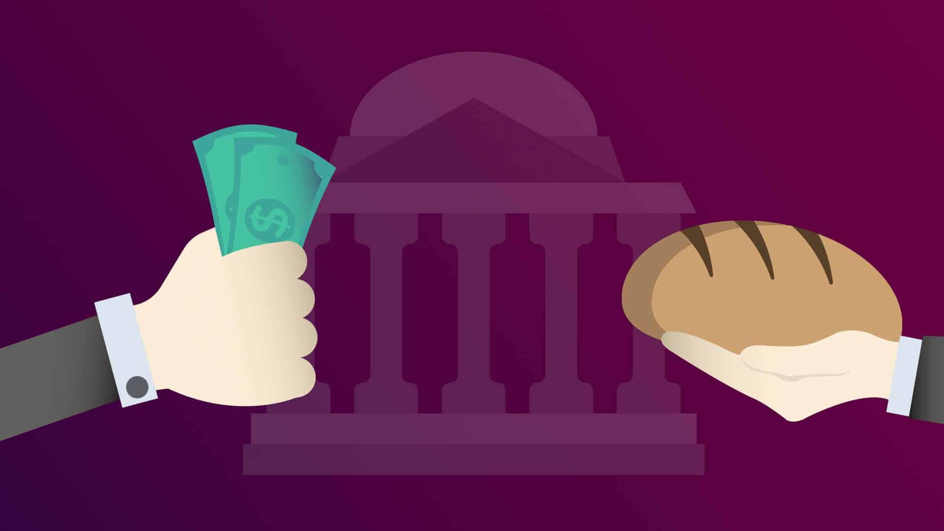 Geldscheine und Brot, symbolisieren die Frage nach dem Wert des Geldes, nach Fiatgeld und Kryptowährungen wie Bitcoin, Ethereum, Ripple, Tron etc