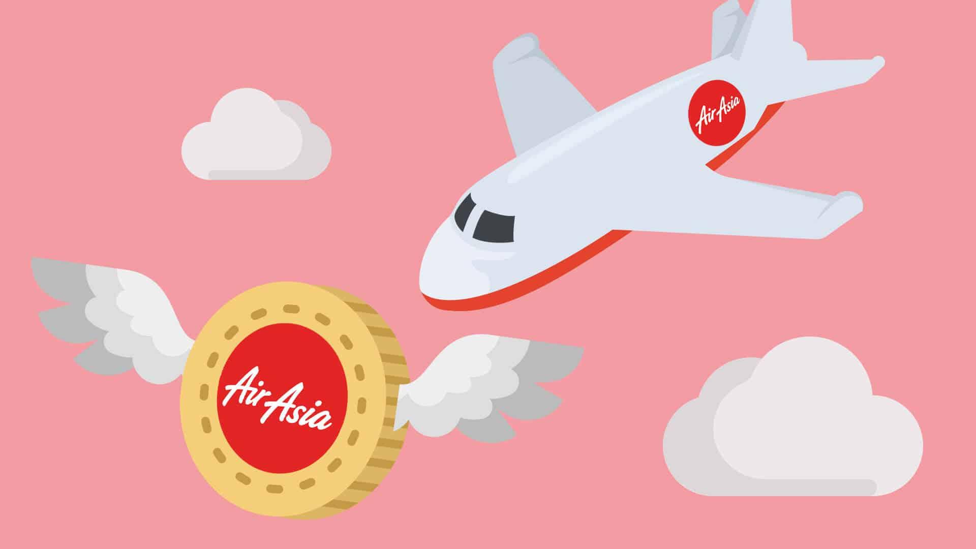 AirAsia Flugzeug mit BigCoin Kryptowährung, ähnlich wie Bitcoin, Ethereum, EOS