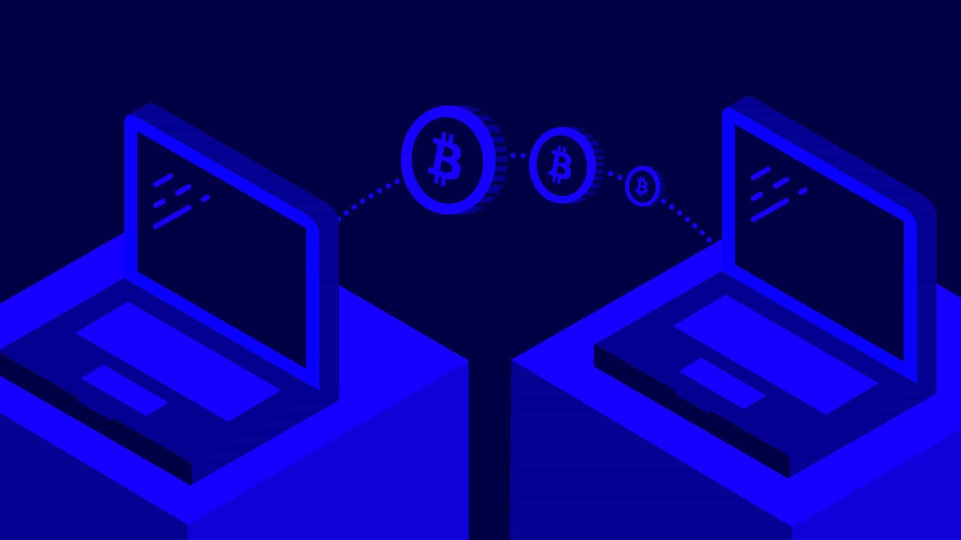 Zwei Laptops mit Bitcoin Münzen, Symbol für Konsens oder Konsensus, Übereinstimmung bei Kryptowährungen wie Ethereum, Tron, Bitcoin