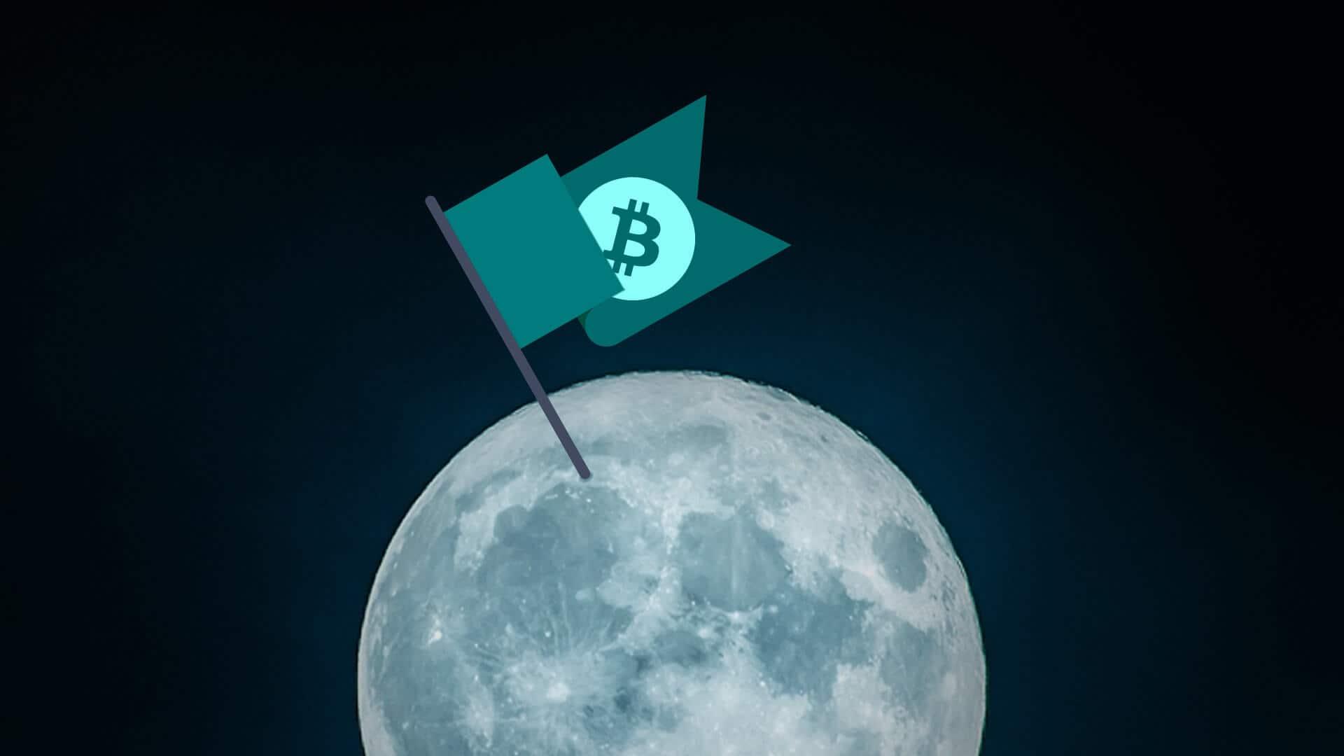 Flagge mit Bitcoin Symbol auf dem Mond, für die Redewendungen mooning oder #tothemoon bei Kryptowährungen