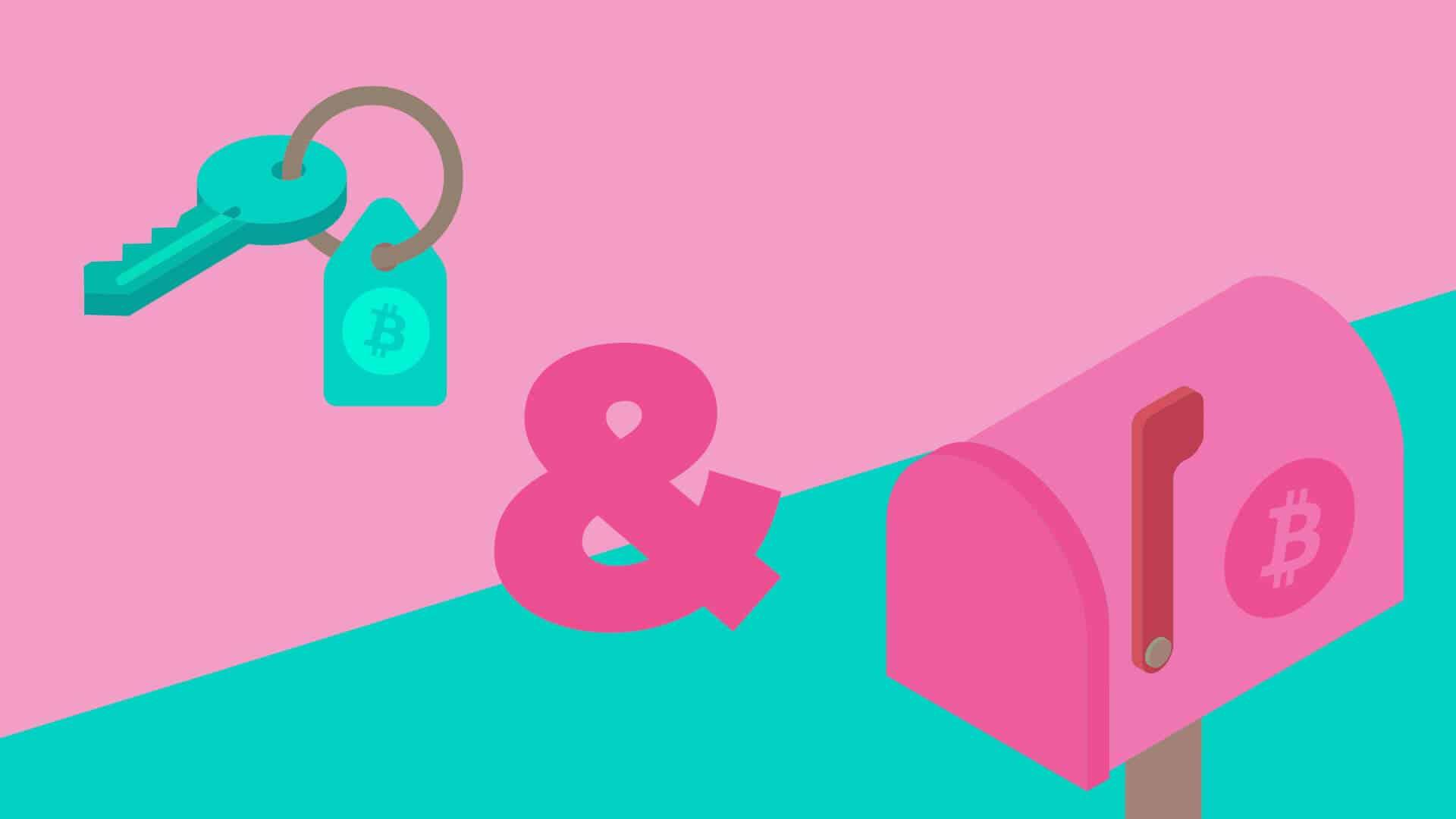 Symbole für Private Key und Public Address für Kryptowährungen wie Bitcoin, Ethereum, Tron