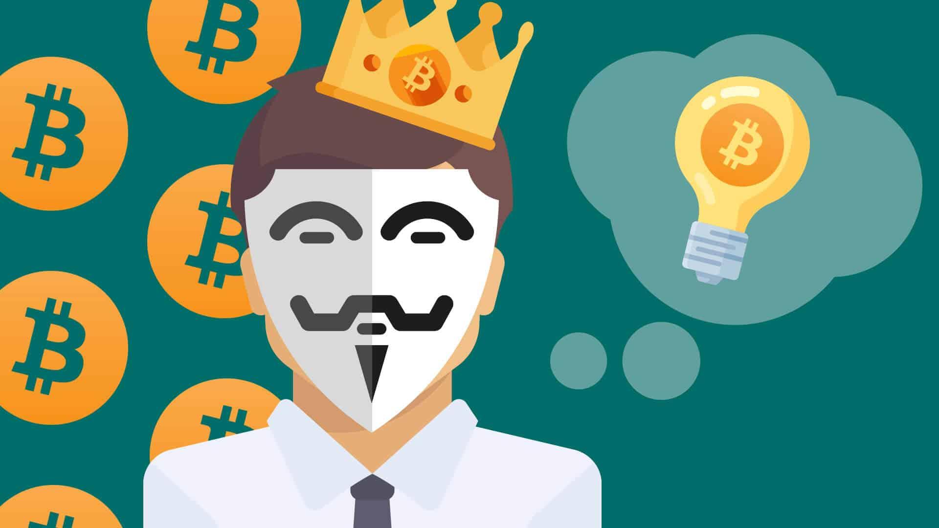 Phantom Satoshi Nakamoto, Guyhinter Fawkes Maske, unbekannter Erfinder von Bitcoin